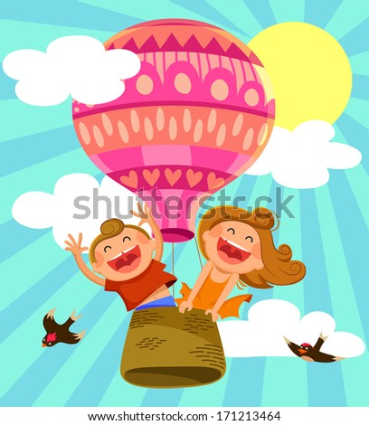two happy kids flying in a hot air balloon - stock photo