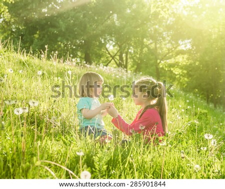 Two happy  little sisters on the field with dandelions - stock photo