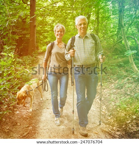 Two happy senior people walking with dog in a forest - stock photo