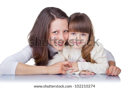 Two happy sisters isolated on white background - stock photo