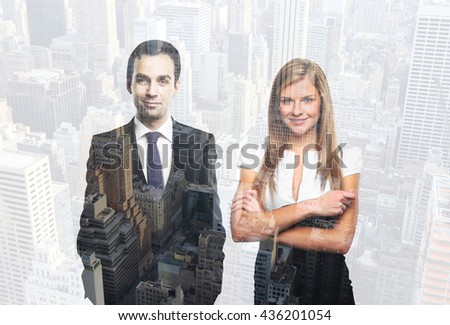 Two happy successful businesspeople on city background. Double exposure - stock photo