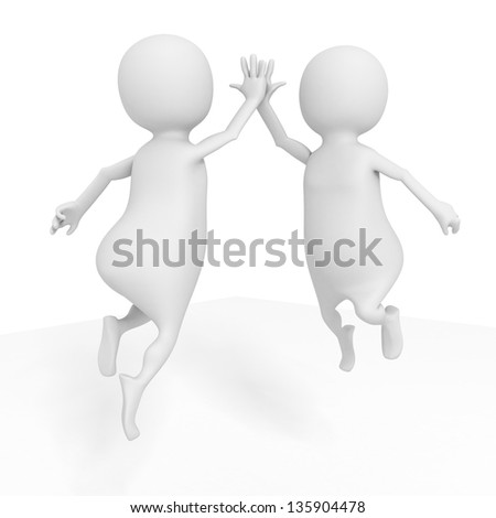 two happy successful white 3d men jumping - stock photo