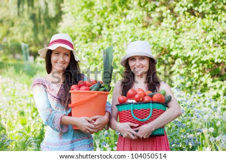 Two happy women with vegetables harvest in garden - stock photo