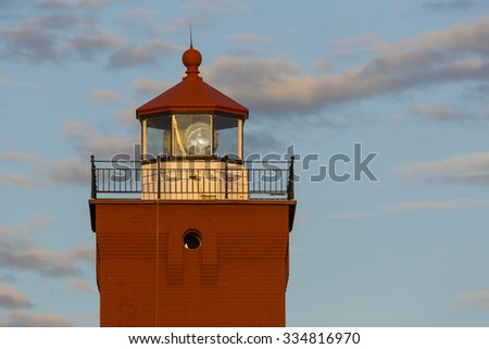 Two Harbors Lighthouse Tower In The Evening - stock photo