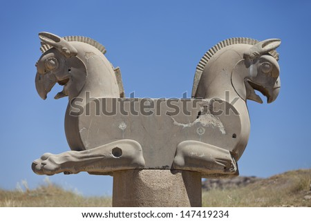 Two-headed Griffin statue in an ancient city of Persepolis, Shiraz, Iran. - stock photo