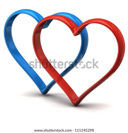 Two heart shape rings - stock photo