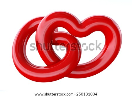 two heart shapes. three-dimensional render. Isolated on white background. - stock photo