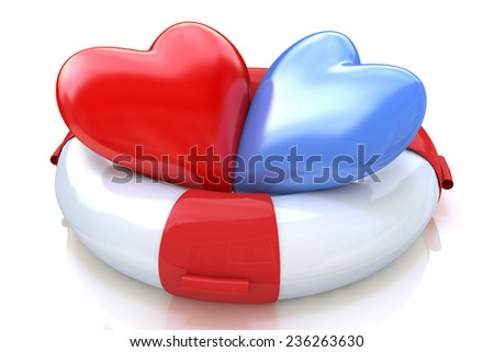 Two hearts and life buoy on white background: concept of love relationships - stock photo