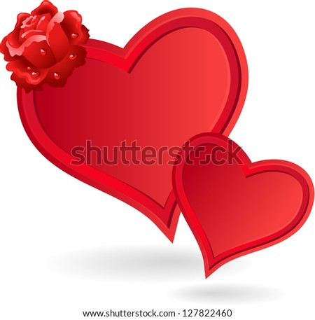 Two hearts and rose. Valentine's day. - stock photo
