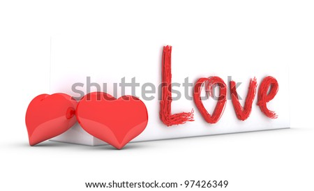 two hearts and stylized text on white wall - stock photo