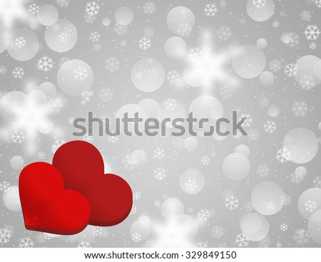 Two hearts composition. Winter snowflakes gray grey background with defocused snow and red heart. Winter bokeh effect with stardust and blurred snow flakes.  - stock photo
