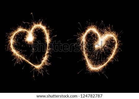 Two hearts drawn sparkler