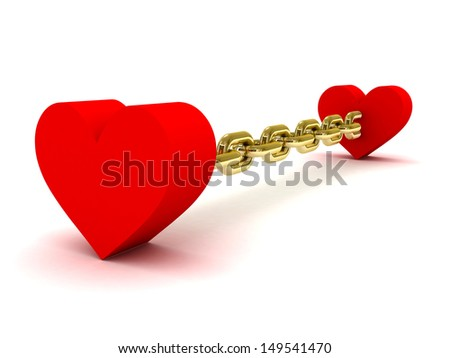 Two hearts linked by long golden chain. Concept 3D illustration. - stock photo