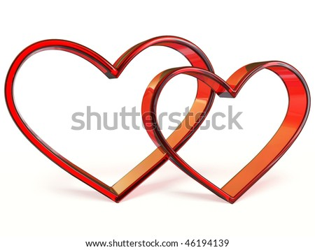two hearts on white background