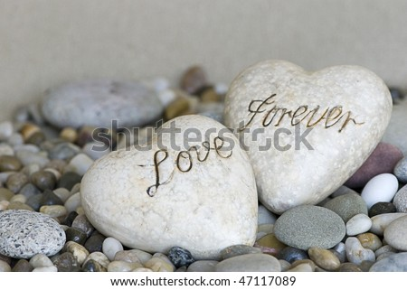 two hearts with text love forever - stock photo