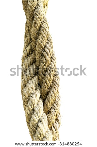 two hemp rope isolated on white