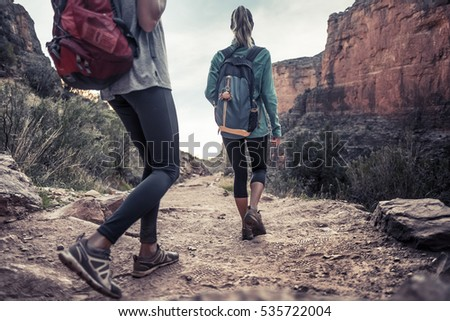 Two hikers on the walkway at the Grand Canyon National Park, USA