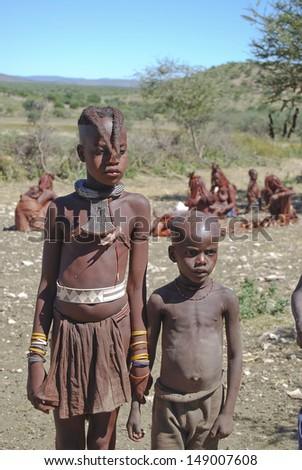 Two himba boys - stock photo