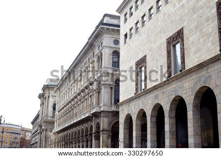 Two historical building in the center of Milan
