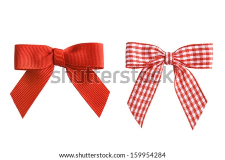 Two holiday bows, isolated - stock photo