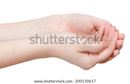 two hollow palms - hand gesture isolated on white background