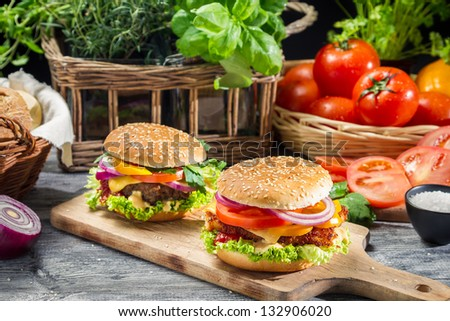 Two homemade burgers made �¢??�¢??from fresh vegetables