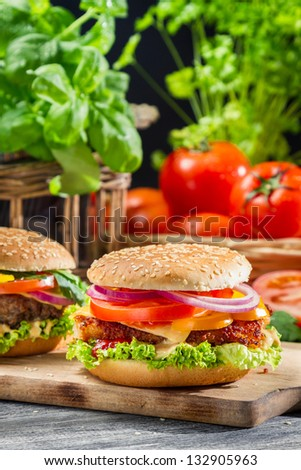 Two homemade hamburgers made from fresh vegetables