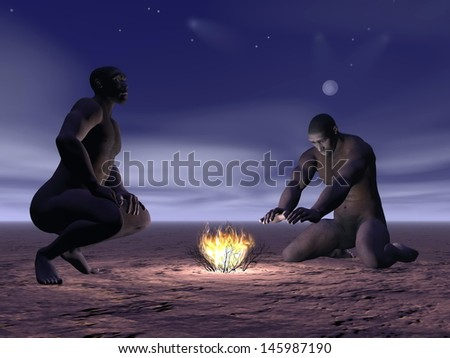 Two homo erectus men around a small fire by night - stock photo