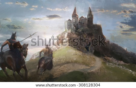 two horseman ridding into the castle  - stock photo