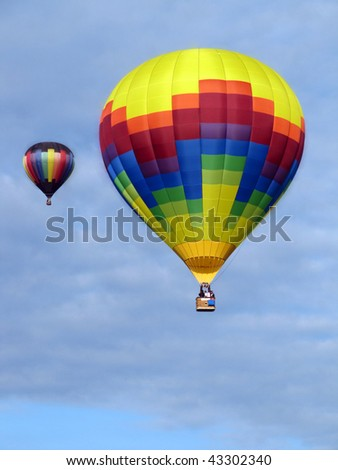 Two Hot Air Balloons taking off in Grove City, Ohio, with sky ideal as copy space