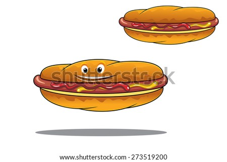 Two hotdogs on crusty rolls seasoned with mustard and ketchup on a grilled sausage, one with a happy face and the other without, fast food or junk food concept design - stock photo