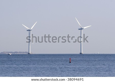 Two huge ocean windmills outside the coast of Copenhagen, Denmark