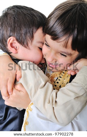Two hugged brothers - stock photo