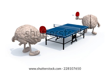 two human brains with arms and legs that playing to table tennis, 3d illustration - stock photo