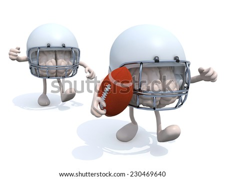 two human brains with arms, legs, helmets and rugby ball, 3d illustration - stock photo