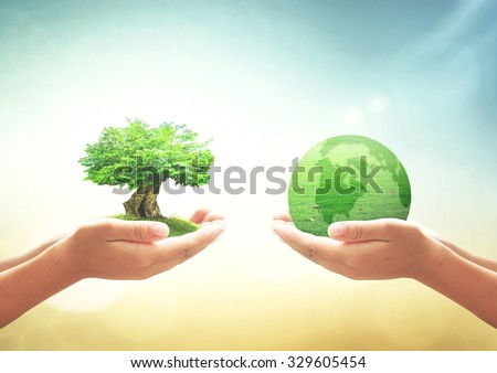Two human hands holding big tree and planet of grass. Ecology CSR Earth Hour Recycle Arbor Planet Idea Team Unity Kind Globe Cool Plant Spring Healthy Life First School Student Teacher Day Synergy. - stock photo