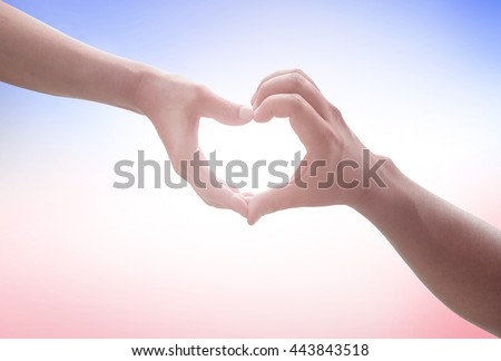 Two Human hands show heart shape. Nurses Share Cupid Image Trust Synergy Pair CSR Kind Water World Ocean Day Help Gift Tied Couple Better God Son Ring Circle Party Card Vows Mother Red Blue concept. - stock photo