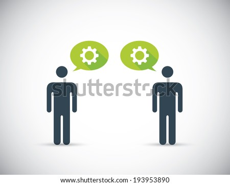 Two humans sharing innovative ideas. Head gears illustration concept. - stock photo
