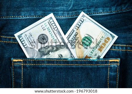two hundred dollars in jeans pocket - stock photo