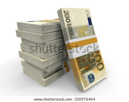Two hundred euro banknotes background. 3D illustration. - stock photo