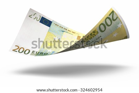Two hundred euro banknotes close-up (isolated on white and clipping path) - stock photo