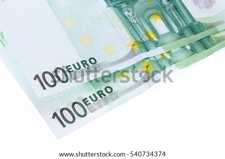 two hundred euro banknotes isolated