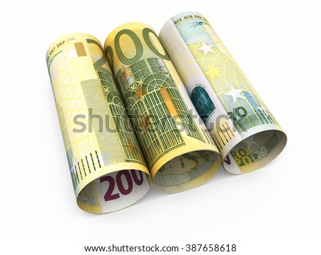 Two hundred euro roll banknotes close-up (isolated on white and clipping path) - stock photo