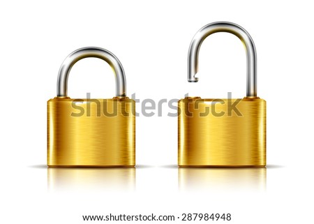 Two icons -- golden padlock in the open and closed position  - stock photo