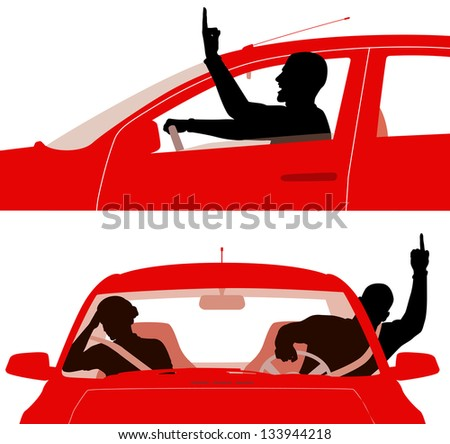 Two illustrations of an angry man in a red car rudely gesturing whilst driving - stock photo