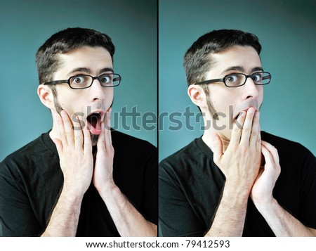 Two images of a young man with glasses looking shocked and surprised. - stock photo