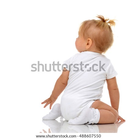Two Infant child baby girl toddler growing crawling happy each other straight isolated on a white background