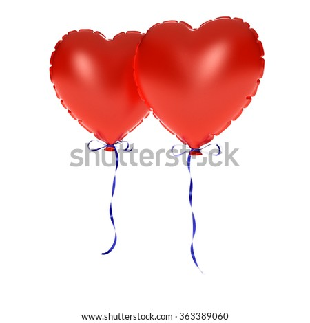 two Inflate hearts - stock photo