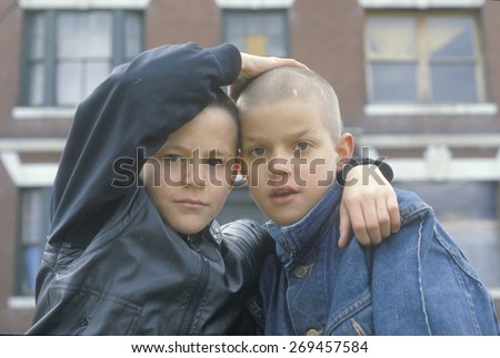 Two inner city boys in South Bronx, NY