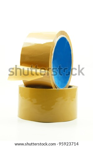 two insulating adhesive on white background - stock photo